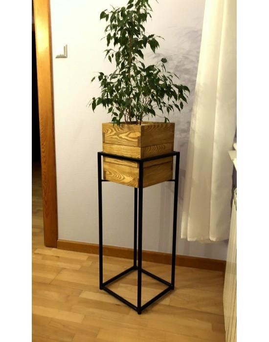 MOSS - Metalowy kwietnik z drewnianą donicą