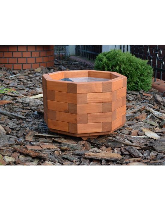 Okrągła donica drewniana na iglaki 48 cm x 36 cm